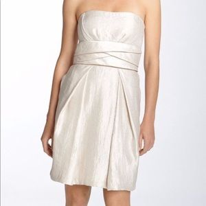 Max and Cleo BCBG Shimmery Satin Pleated Dress